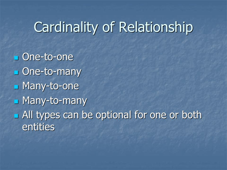 Cardinality of Relationship