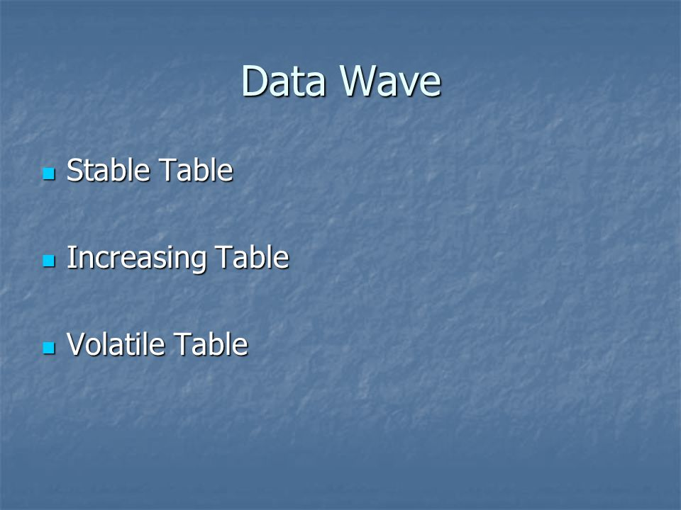Data Wave Stable Table Increasing Table Volatile Table