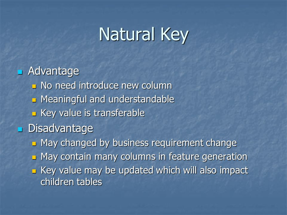 Natural Key Advantage Disadvantage No need introduce new column