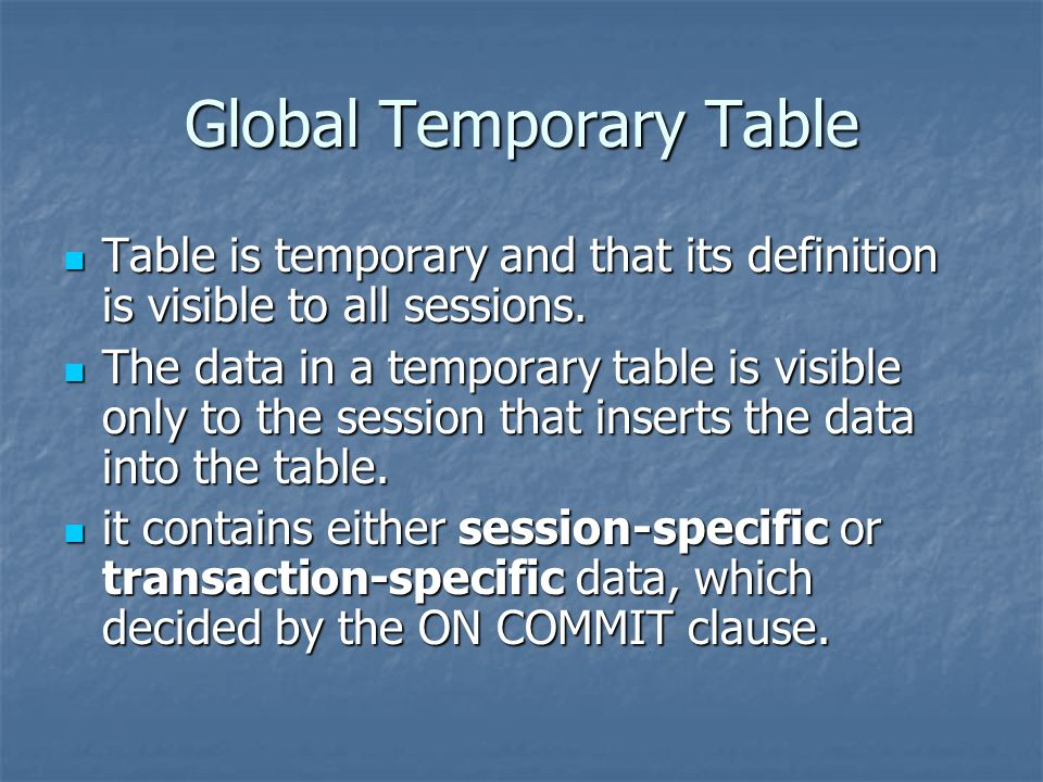 Global Temporary Table