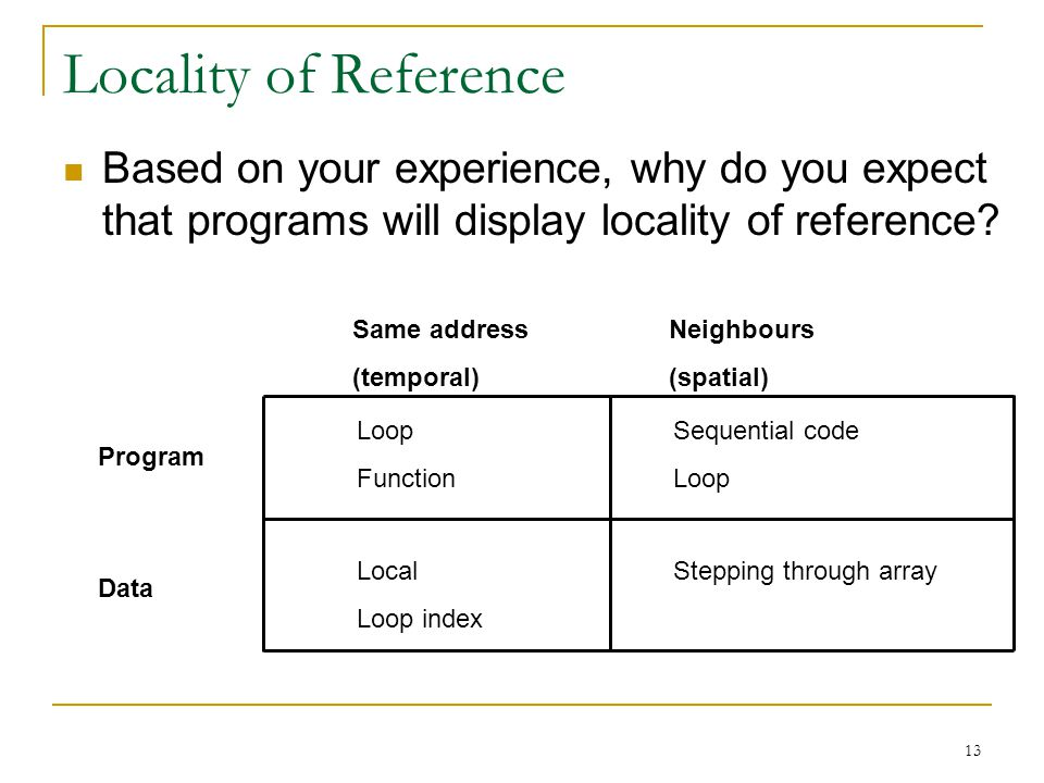 Locality of Reference Based on your experience, why do you expect that programs will display locality of reference