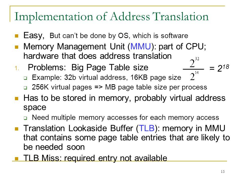 Implementation of Address Translation