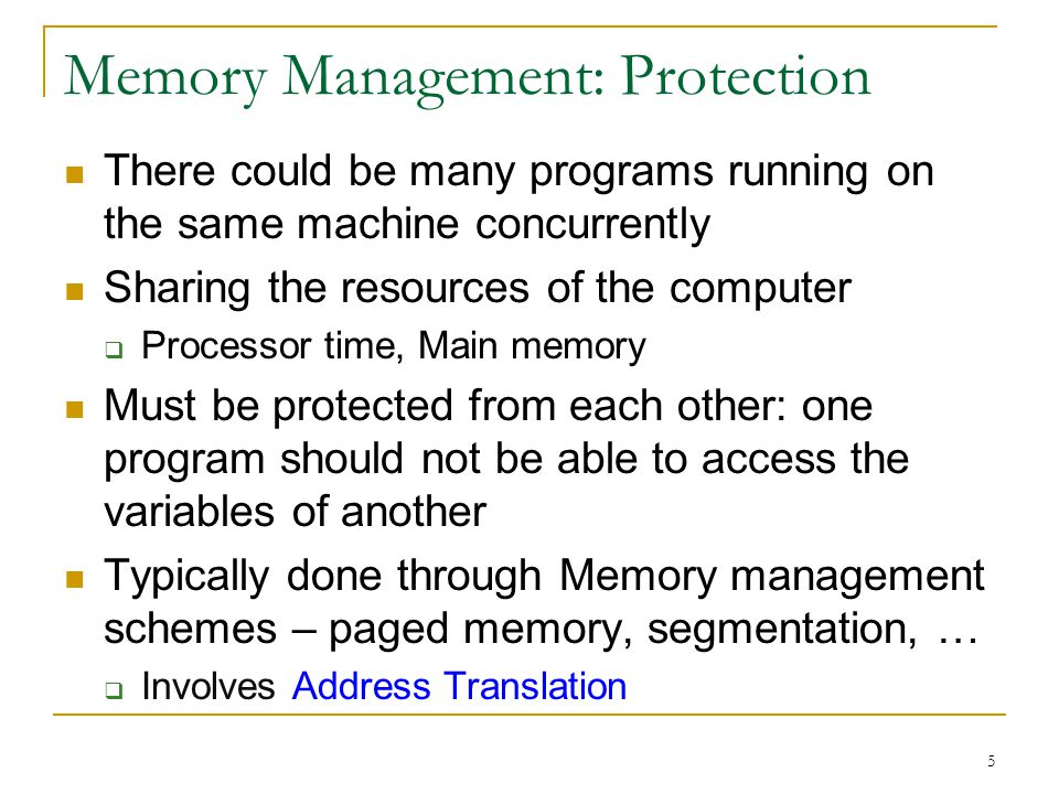 Memory Management: Protection