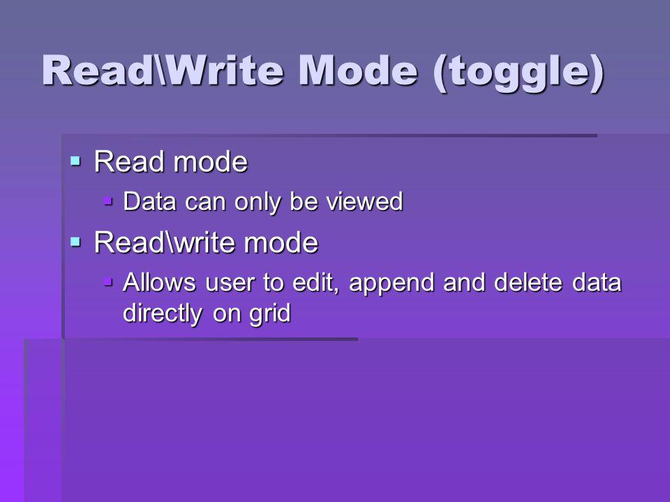 Read\Write Mode (toggle)