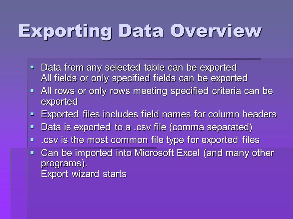 Exporting Data Overview