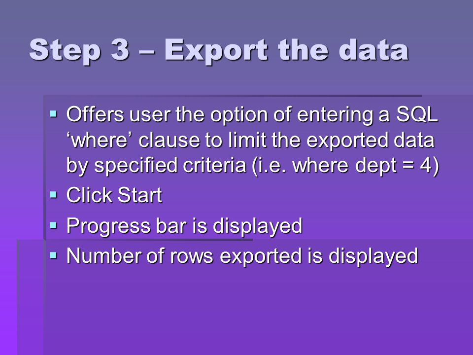 Step 3 – Export the data