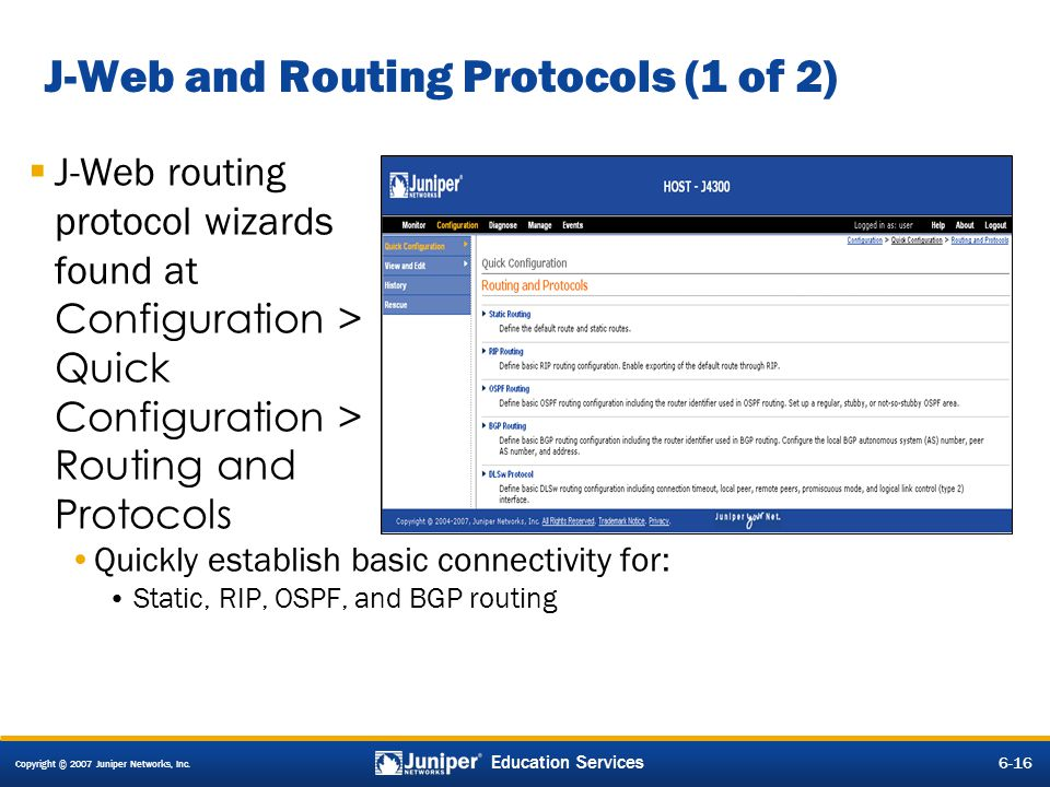 J-Web and Routing Protocols (1 of 2)