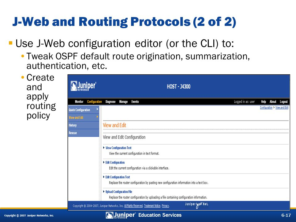 J-Web and Routing Protocols (2 of 2)