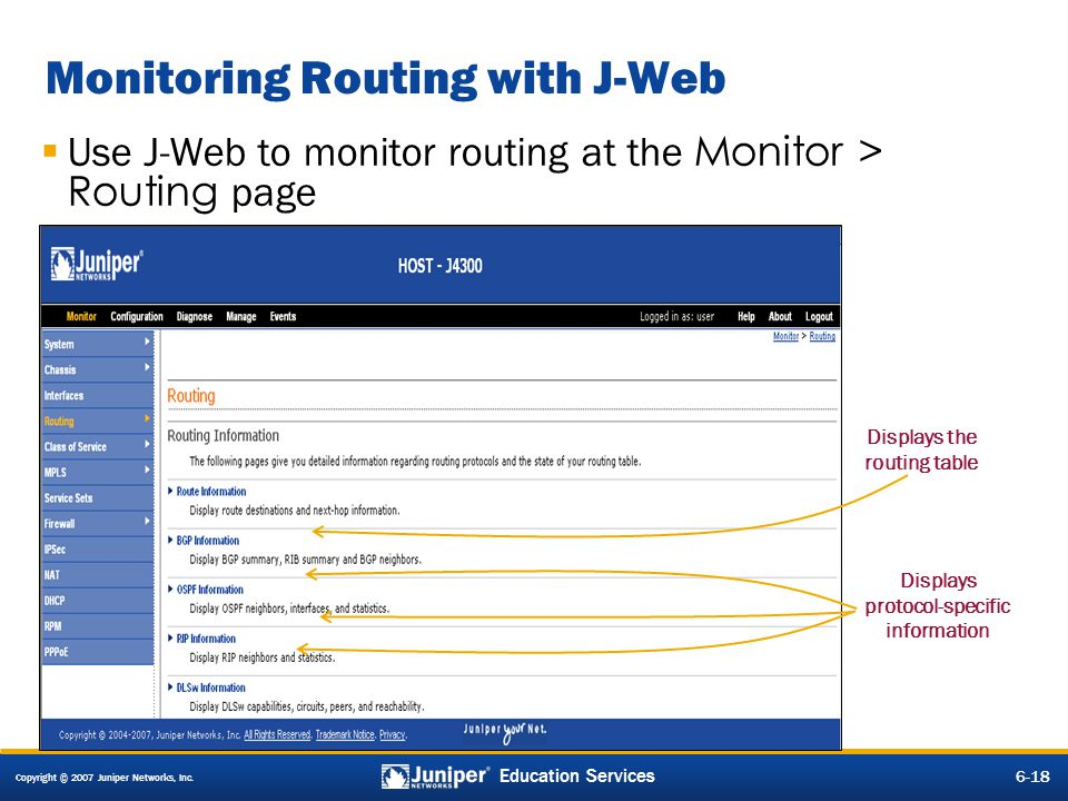 Monitoring Routing with J-Web