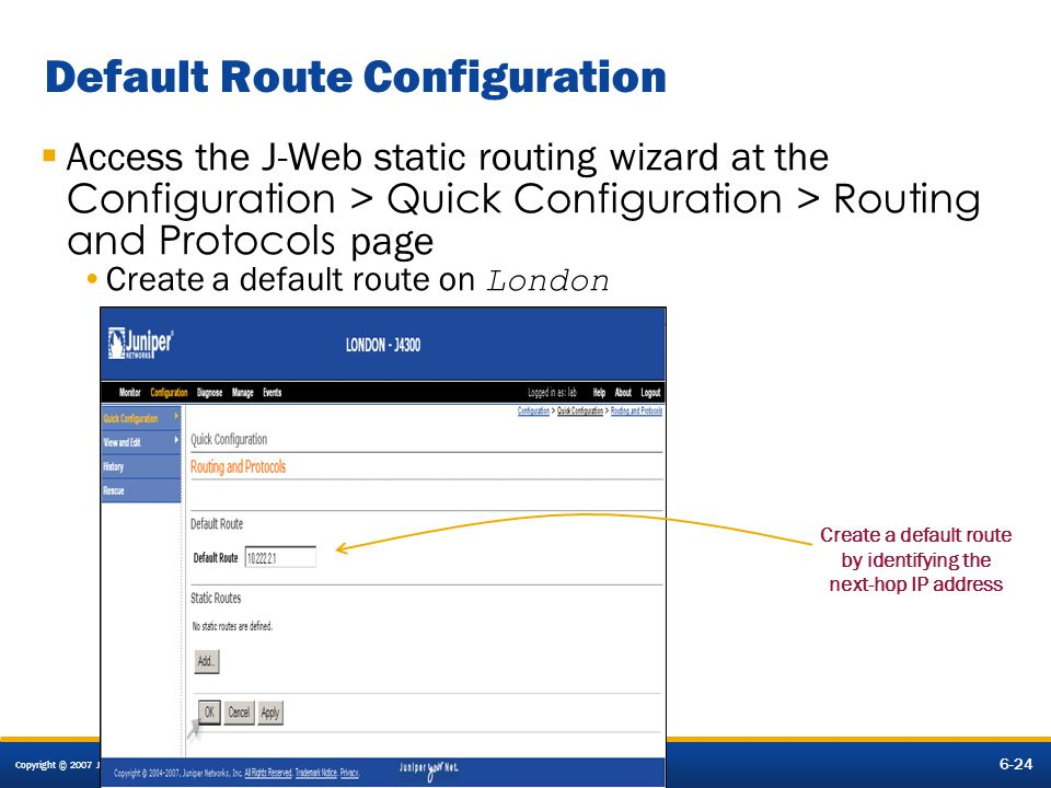 Default Route Configuration