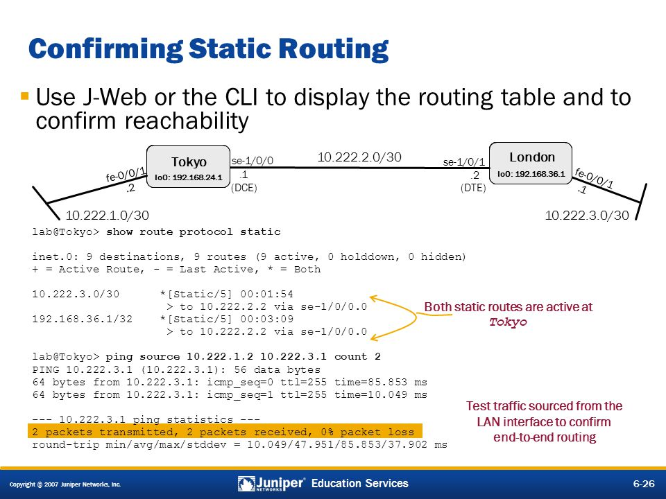 Confirming Static Routing