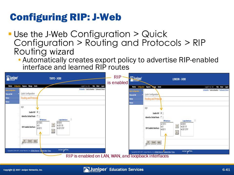 Configuring RIP: J-Web