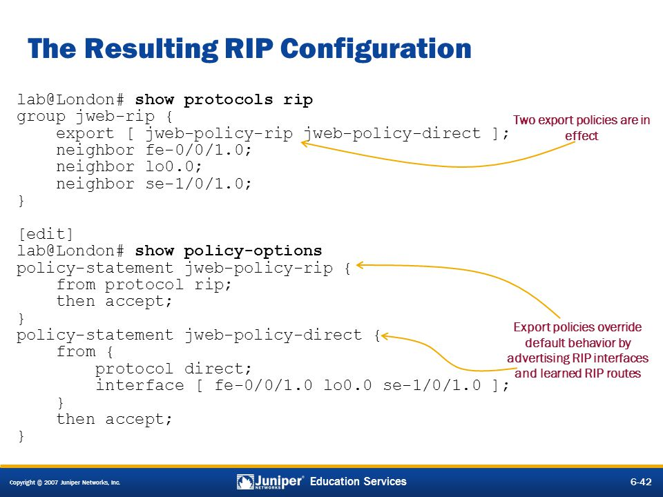 The Resulting RIP Configuration