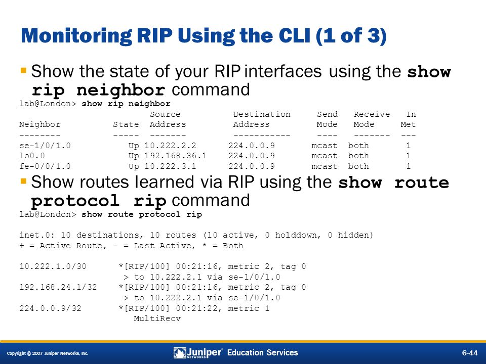 Monitoring RIP Using the CLI (1 of 3)