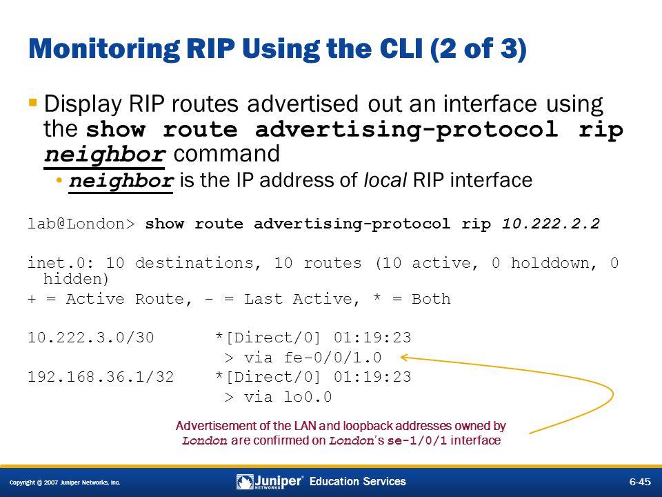 Monitoring RIP Using the CLI (2 of 3)