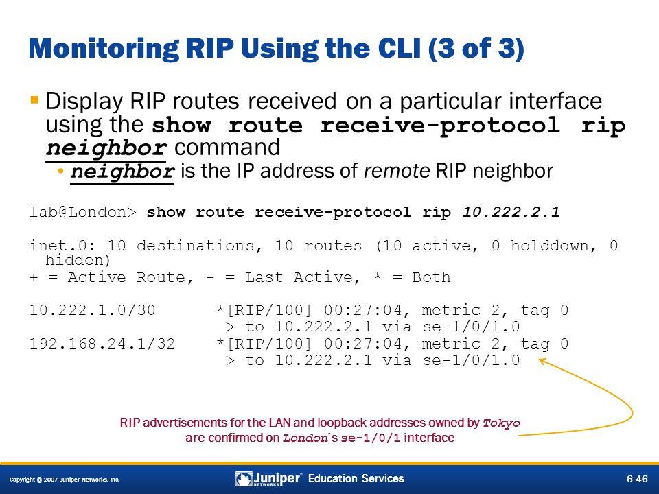 Monitoring RIP Using the CLI (3 of 3)