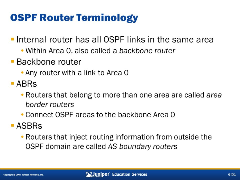 OSPF Router Terminology