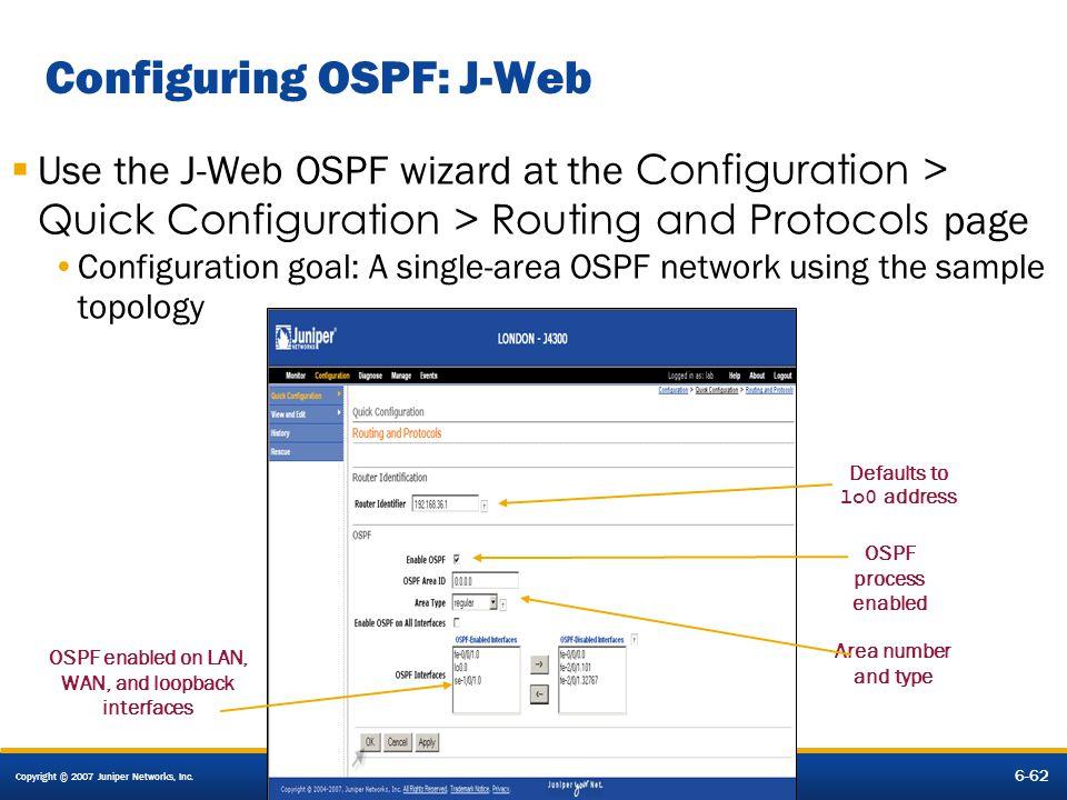 Configuring OSPF: J-Web