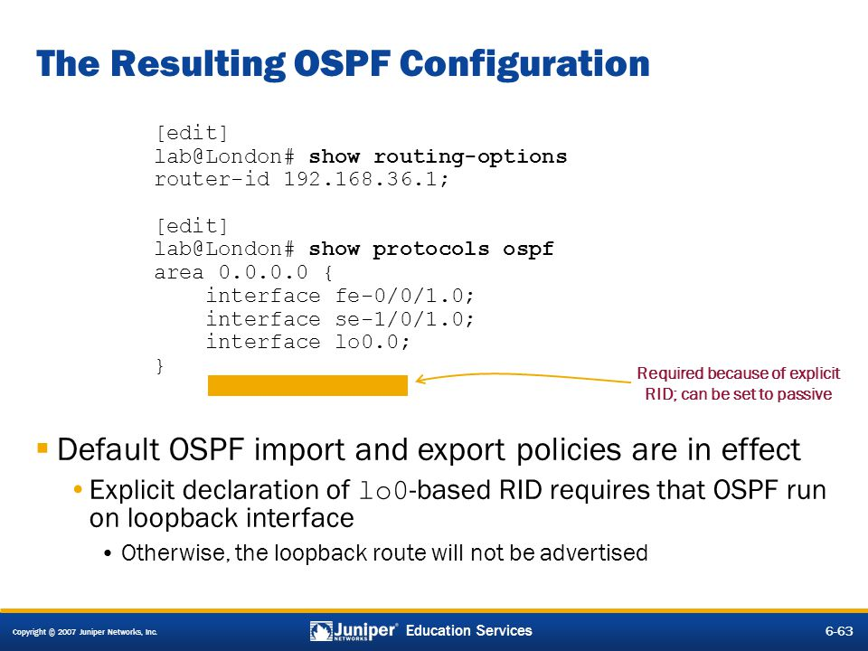 The Resulting OSPF Configuration