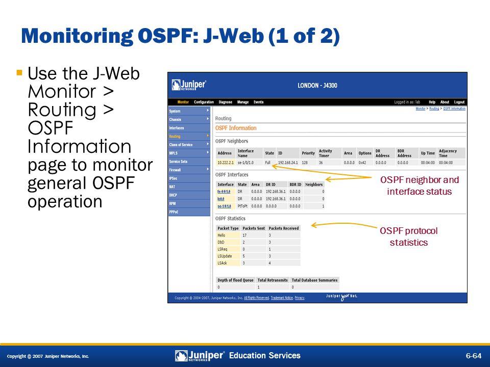 Monitoring OSPF: J-Web (1 of 2)