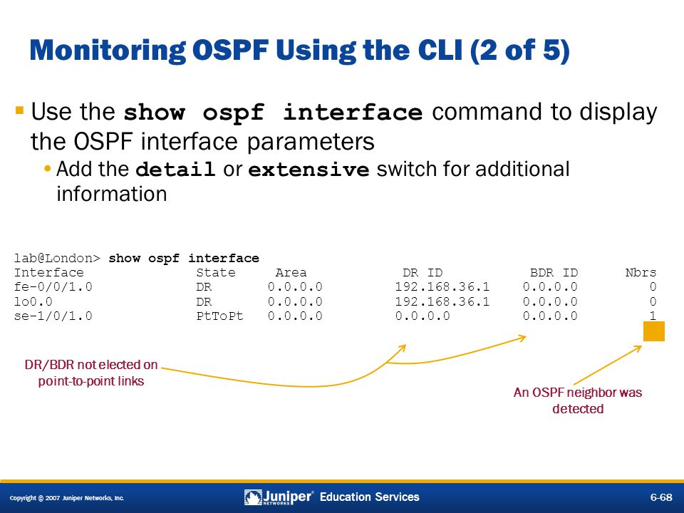Monitoring OSPF Using the CLI (2 of 5)