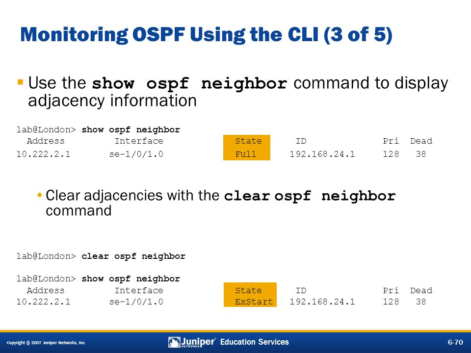 Monitoring OSPF Using the CLI (3 of 5)