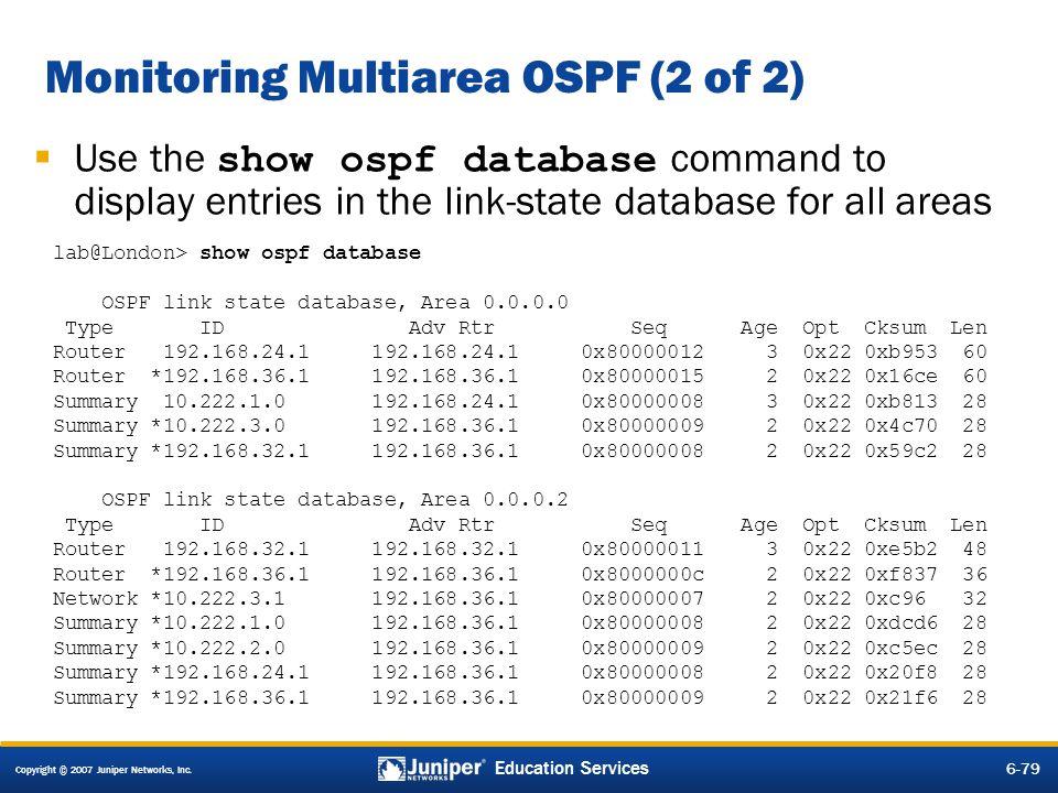 Monitoring Multiarea OSPF (2 of 2)