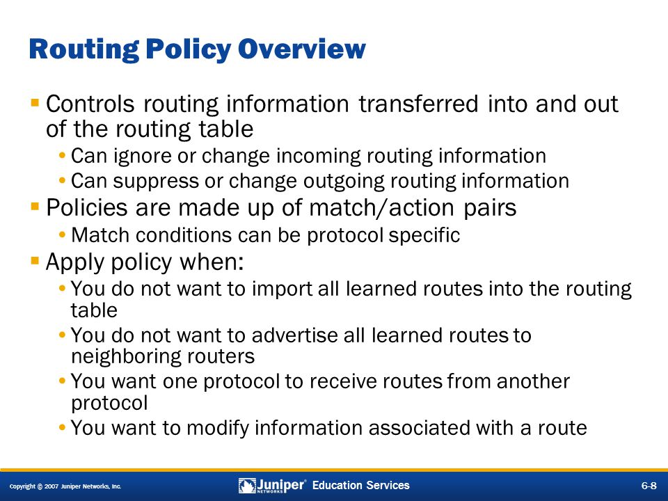 Routing Policy Overview