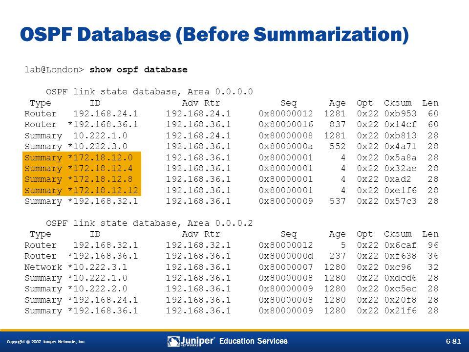 OSPF Database (Before Summarization)