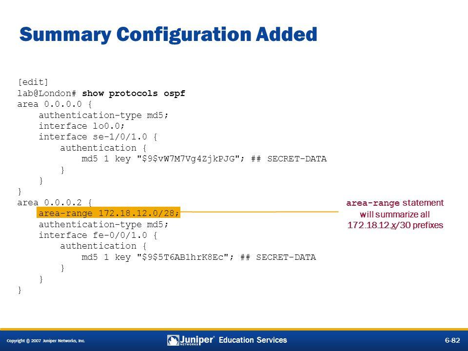 Summary Configuration Added