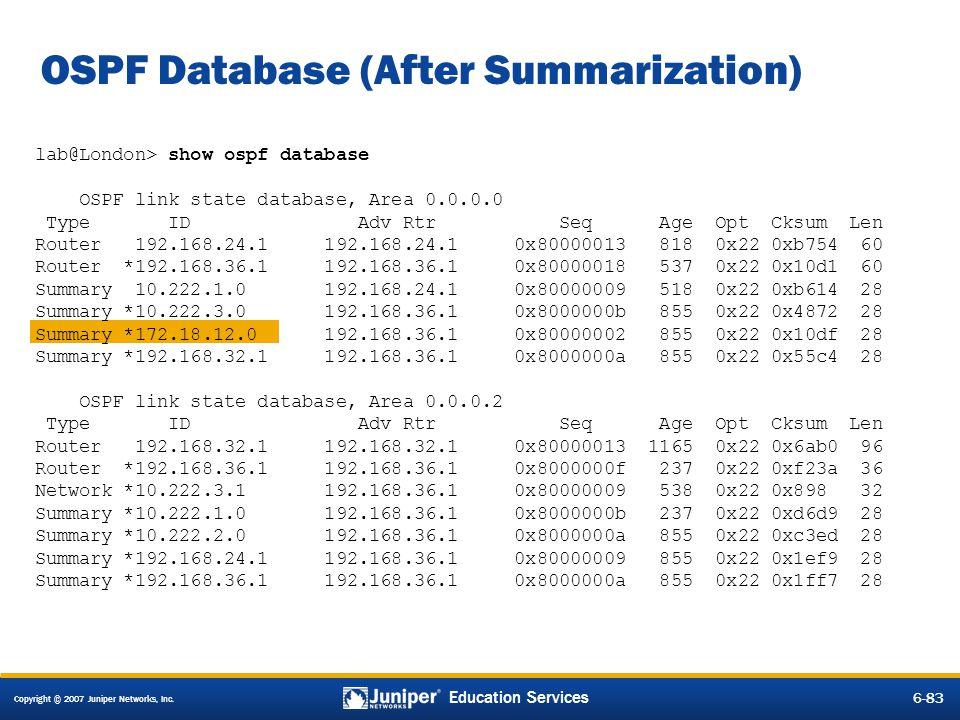 OSPF Database (After Summarization)