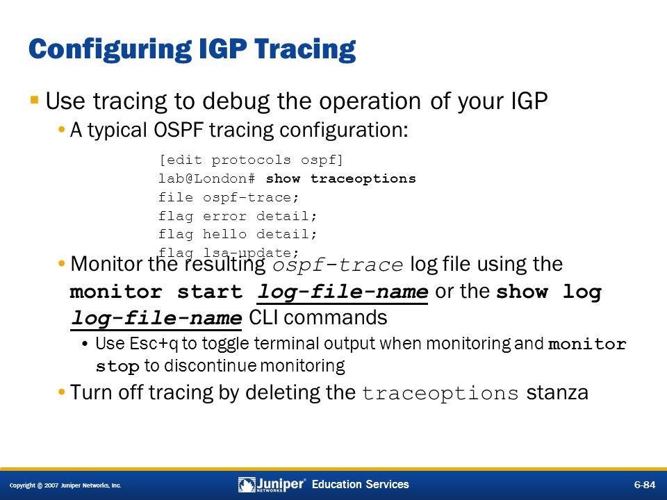 Configuring IGP Tracing