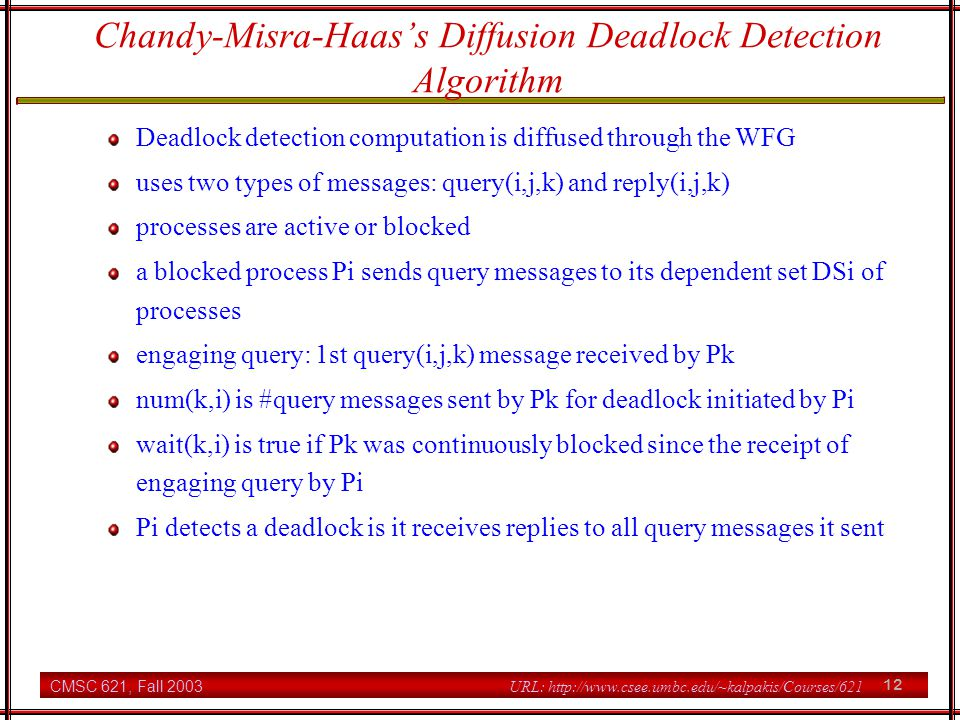 Chandy-Misra-Haas's Diffusion Deadlock Detection Algorithm