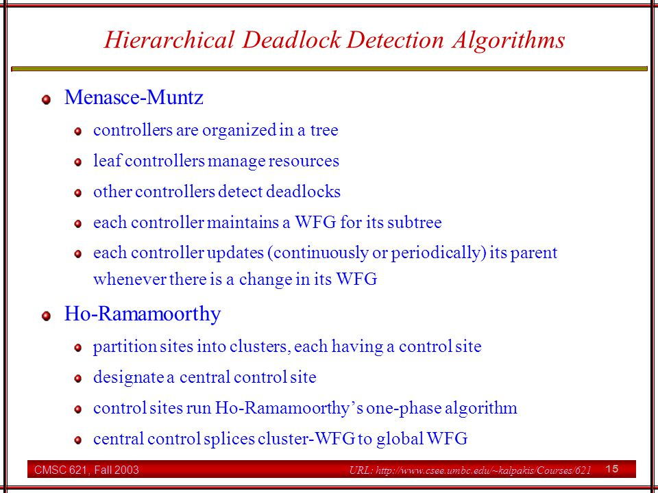 Hierarchical Deadlock Detection Algorithms