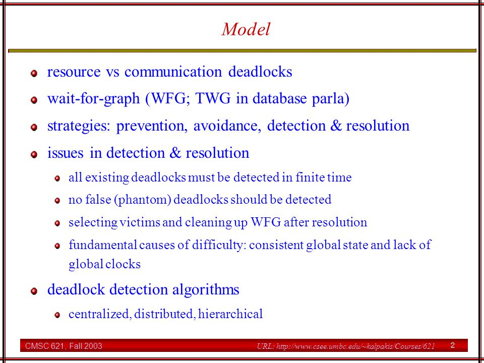 Model resource vs communication deadlocks