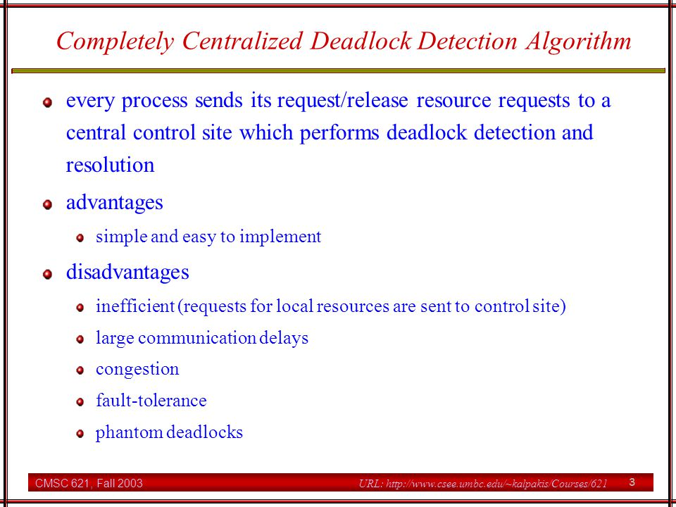 Completely Centralized Deadlock Detection Algorithm