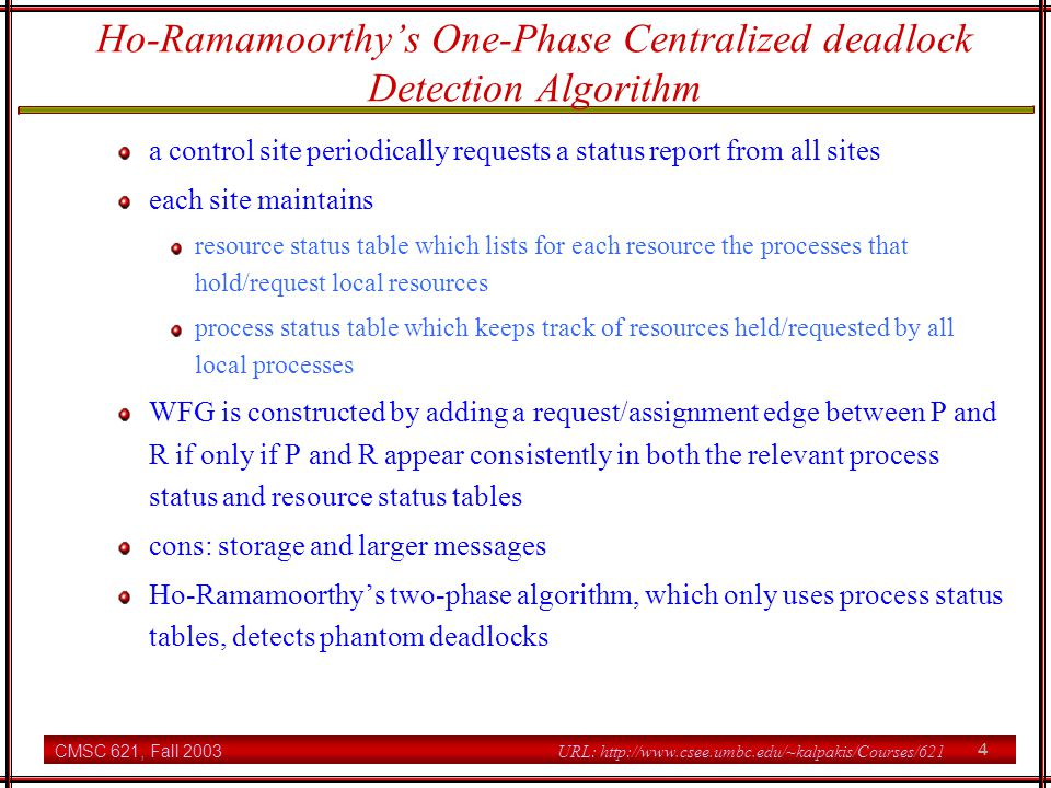 Ho-Ramamoorthy's One-Phase Centralized deadlock Detection Algorithm