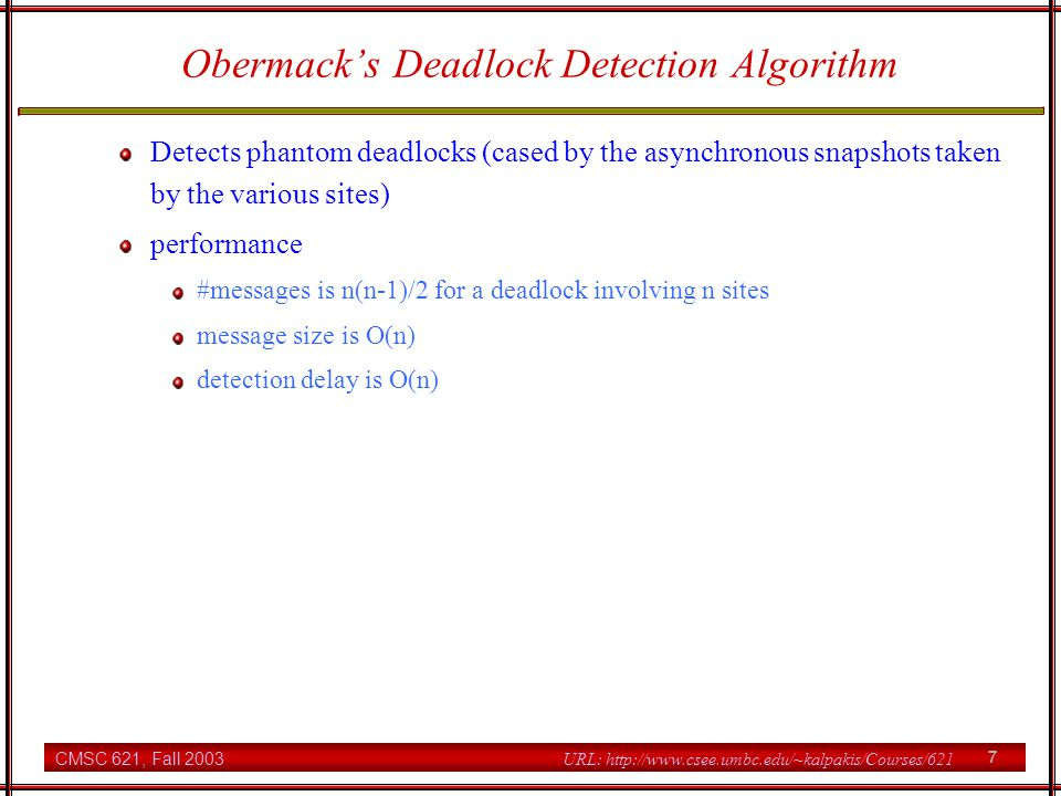 Obermack's Deadlock Detection Algorithm