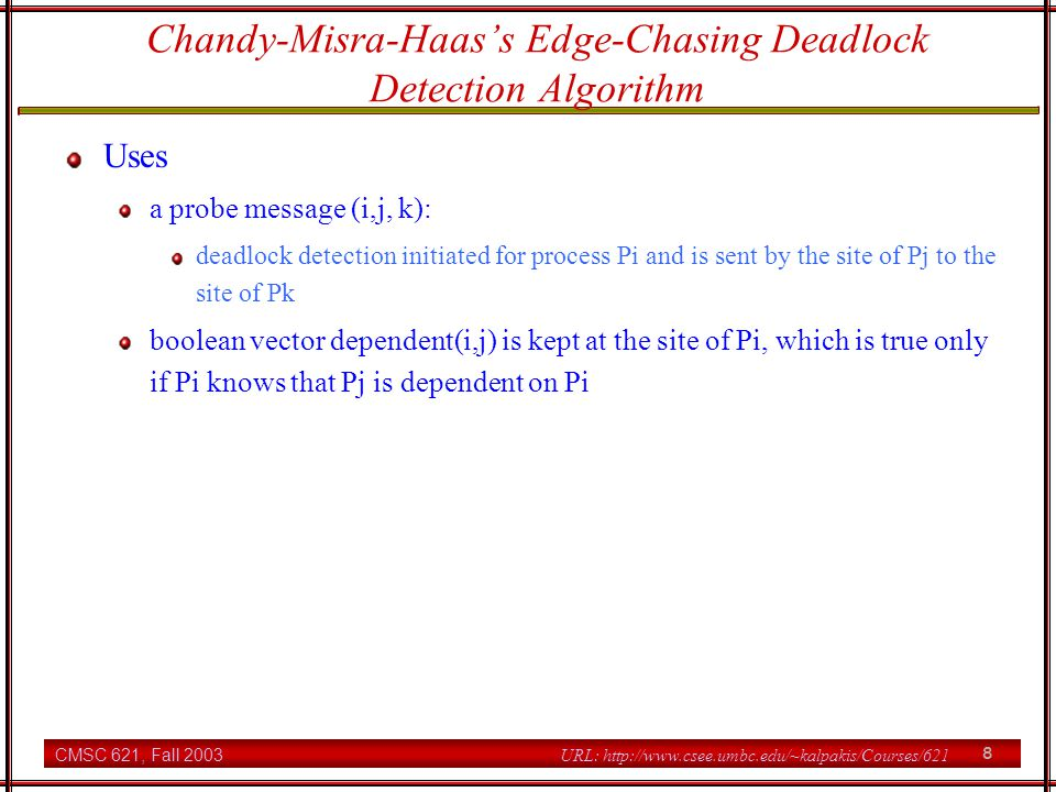 Chandy-Misra-Haas's Edge-Chasing Deadlock Detection Algorithm