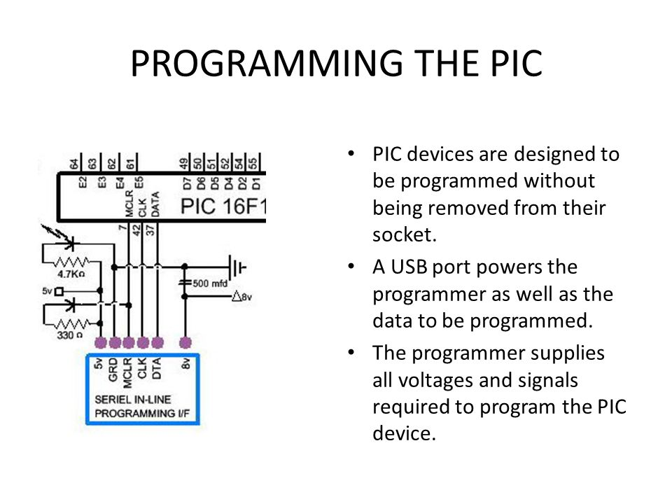 PROGRAMMING THE PIC PIC devices are designed to be programmed without being removed from their socket.