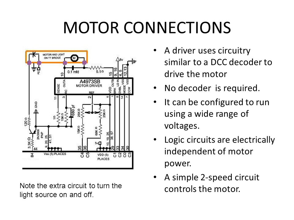 MOTOR CONNECTIONS A driver uses circuitry similar to a DCC decoder to drive the motor. No decoder is required.