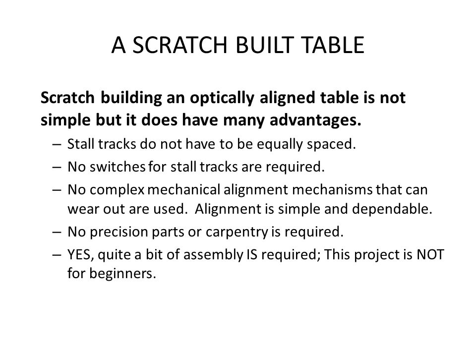 A SCRATCH BUILT TABLE Scratch building an optically aligned table is not simple but it does have many advantages.