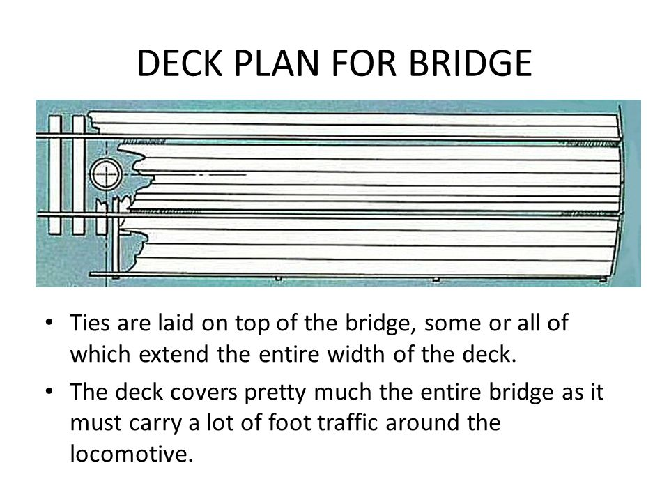 DECK PLAN FOR BRIDGE Ties are laid on top of the bridge, some or all of which extend the entire width of the deck.