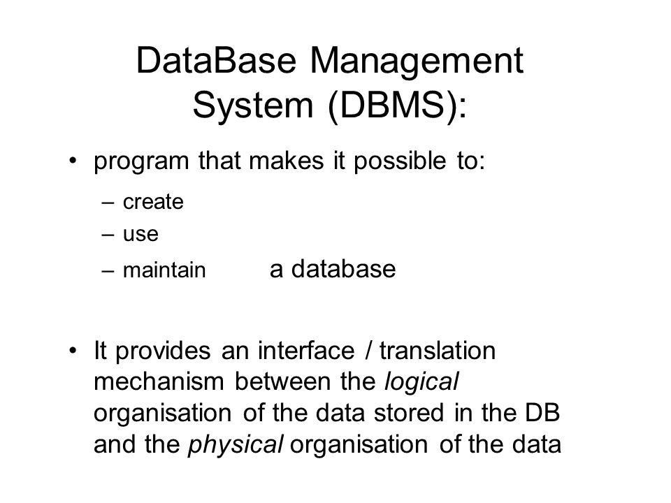 DataBase Management System (DBMS):