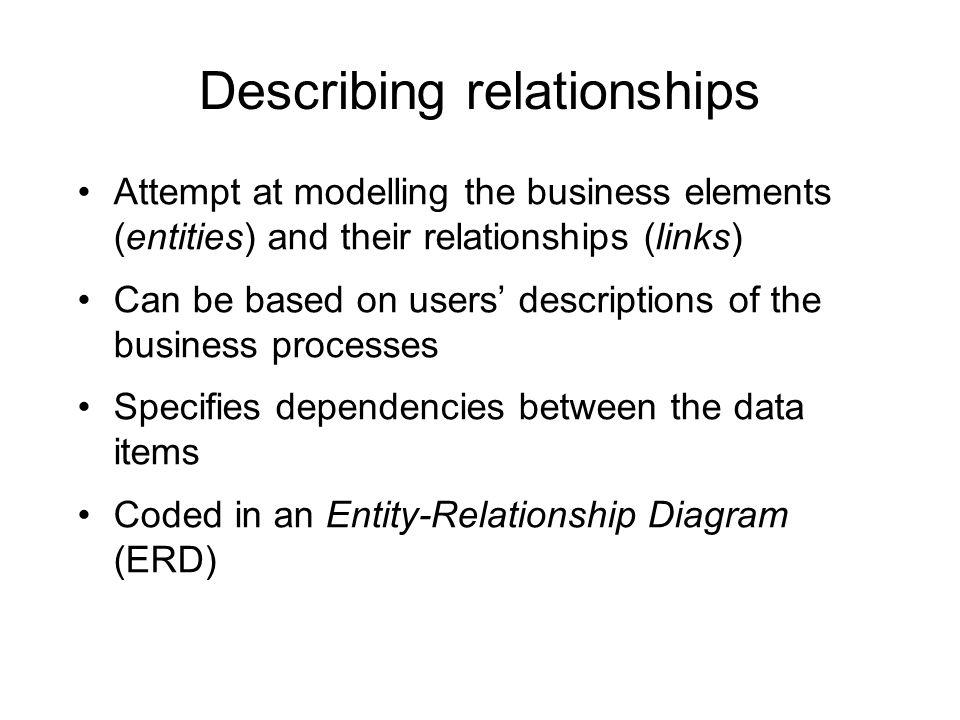 Describing relationships