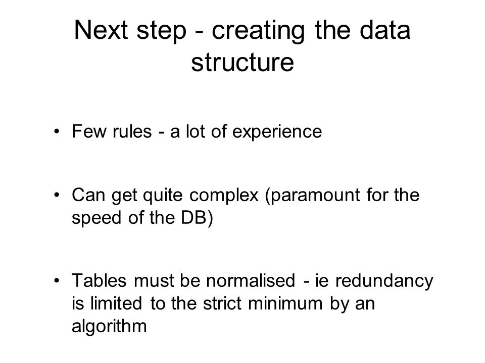 Next step - creating the data structure