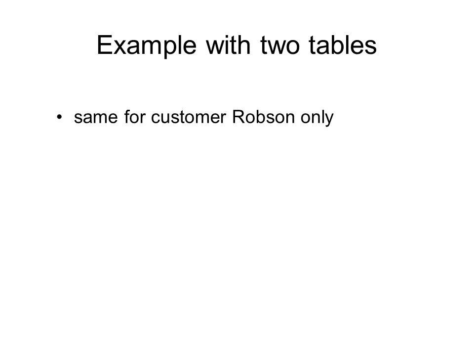 Example with two tables