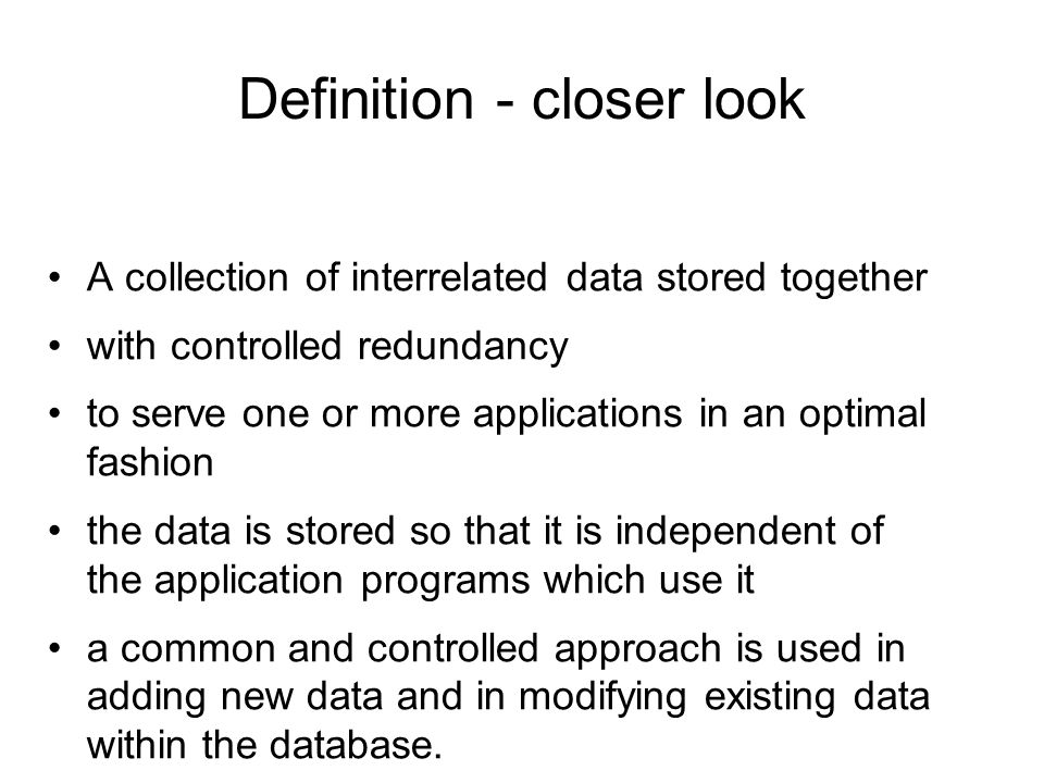 Definition - closer look