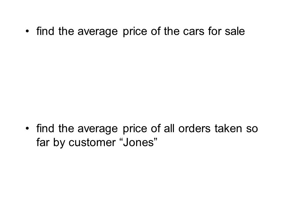 find the average price of the cars for sale