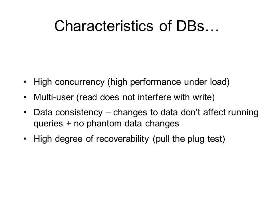 Characteristics of DBs…